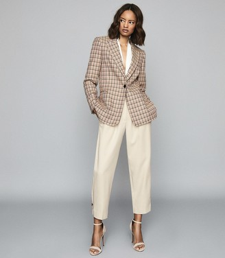 Reiss Taylor - Checked Slim Fit Blazer in Pink Print