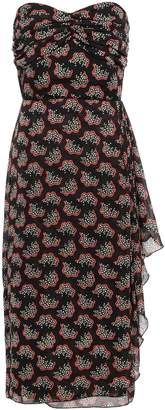 Anna Sui Strapless Draped Printed Georgette Dress
