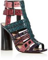 Donald J Pliner Bindy Snake-Embossed Woven High Heel Sandals