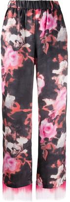 MSGM Fringe Trim Floral Trousers