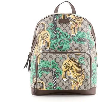 Gucci Zip Pocket Backpack Bengal Print GG Coated Canvas Medium