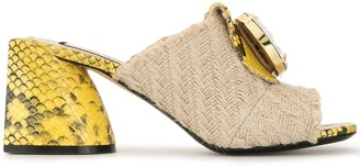 No.21 Jute And Snakeskin Effect Mules