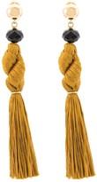 Oscar de la Renta Knotted Silk Tassel Drop Earrings