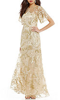 David Meister Metallic Embroidered Flutter Sleeve Gown