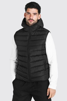boohoo Mens Black Quilted Zip Through Gilet With Hood, Black
