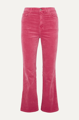 J Brand Julia Cropped Cotton-blend Velvet Flared Pants - Pink