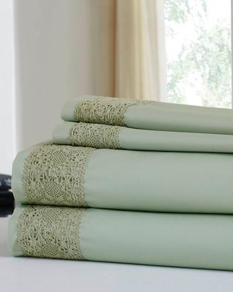 Modern Threads 600 Thread Count Cotton Rich Diamond Lace Hem 4Pc Sheet Set