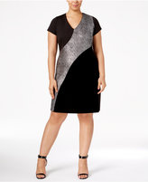 NY Collection Plus Size Metallic-Inset Dress