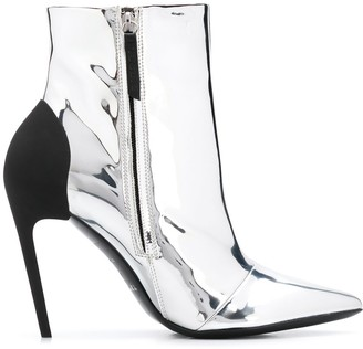 Diesel High-heel ankle boots in mirrored PU
