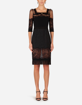 Dolce & Gabbana Cady And Brocade Midi Dress With Lace Inserts