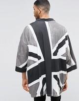 Religion Union Jack Jersey Monochrome Kimono
