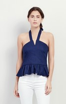 Nicole Miller Stretch Linen Halter Top