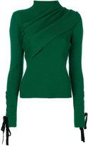 Elie Saab ribbed lace-up sleeve jumper - women - Polyamide/Virgin Wool - 38