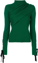 Elie Saab ribbed lace-up sleeve jumper