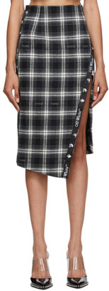 Off-White Black Check Side-Split Midi Skirt