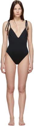 Proenza Schouler Black V-Neck One-Piece Swimsuit