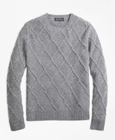 Brooks Brothers Lambswool Lattice Cable Knit Crewneck Sweater