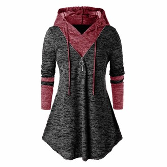 Younthone Women's Casual Sweatshirt Plus Size Long Sleeve Hooded Tunic Tops T Shirt Blouse Irregular Jumper Loose and Comfortable Pullover Party Daily Clothes UK 18-28 Black