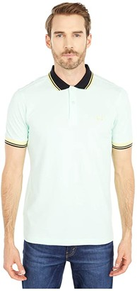 Fred Perry Contrast Rib Pique Shirt (Misty Jade) Men's Clothing