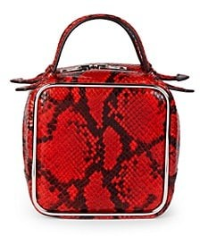 Alexander Wang Halo Embossed Snakeskin-Print Leather Top Handle Bag