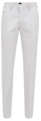 HUGO BOSS Slim Fit Pants In Paper Touch Stretch Cotton - Dark Blue