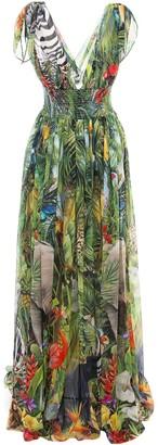Dolce & Gabbana V-Neck Draped Maxi Dress