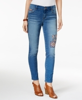 Style&Co. Style & Co Style & Co Petite Embroidered Patched Skinny Ankle Jeans, Created for Macy's