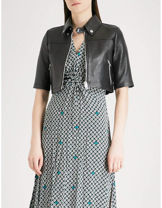 Maje Brittany cropped leather jacket