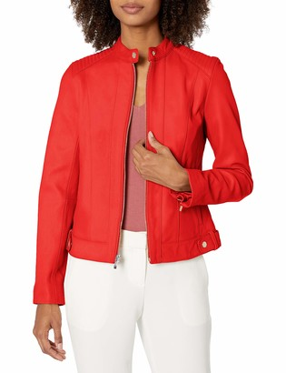 Cole Haan Women's Smooth Lamb Racer Jacket