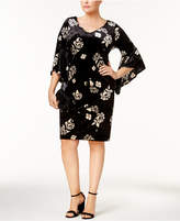 NY Collection Plus Size Printed Velvet Dress