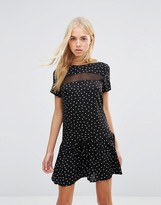 Daisy Street Drop Hem Dress In Polka Dot Print With Mesh Insert