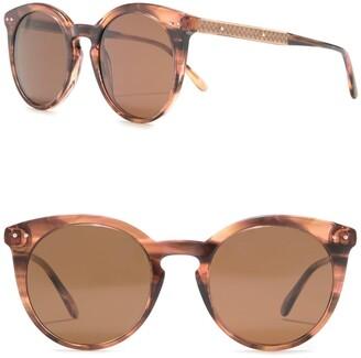 Bottega Veneta 51mm Core Round Retro Sunglasses
