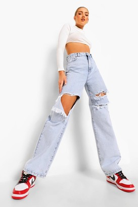 boohoo Boyfriend Jeans With Busted Knees