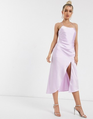 Significant Other lucine satin midi slip dress