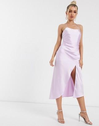 Significant Other lucine satin midi slip dress