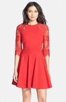 BB Dakota Women's 'Yale' Lace Panel Fit & Flare Dress