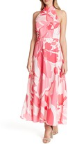 Tahari Printed Halter Maxi Dress