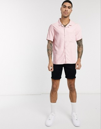Topman short sleeve revere collar shirt in pink
