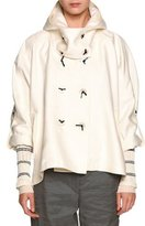 Giorgio Armani Double-Breasted Cropped Hooded Coat, White