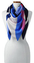 Lands' End Women's Stripe Silk Square Scarf-White/Fresh Orchid Stripe