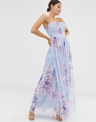 Lipsy bandeu mesh maxi dress in blue floral print