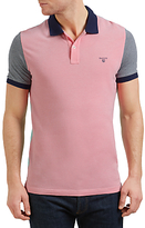 Gant Colour Block Oxford Polo Shirt, Bright Magenta/multi