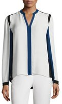 Elie Tahari Layne Long-Sleeve Colorblocked Silk Blouse, Antique