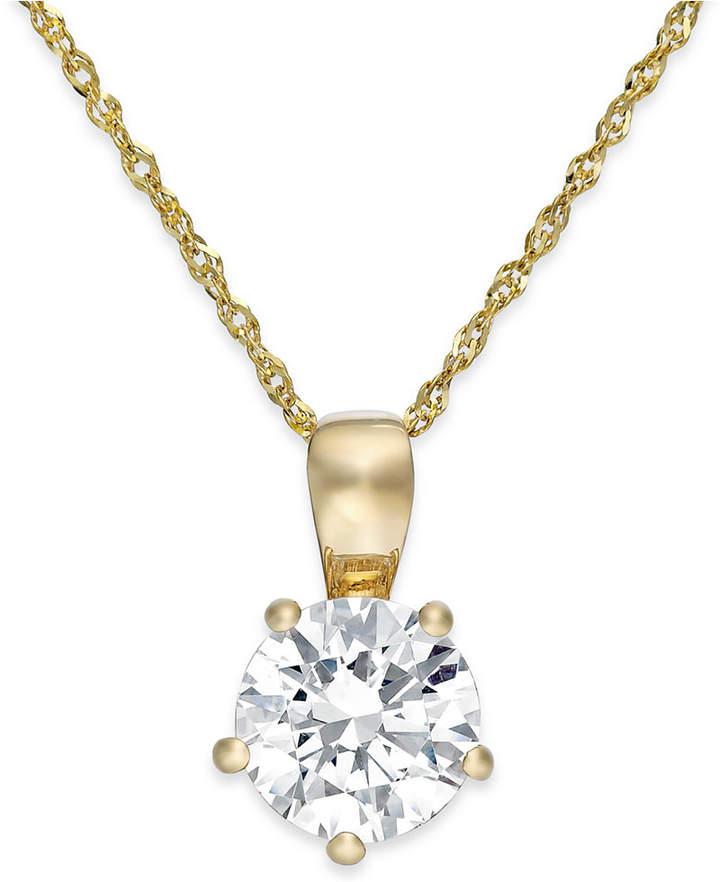 Arabella Swarovski Zirconia Solitaire Pendant Necklace in 14k Gold (2 ct. t.w.)