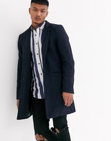 Only & Sons wool overcoat in navy