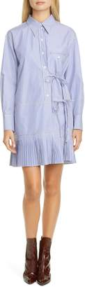 Chloé Tie Detail Stripe Long Sleeve Poplin Shirtdress