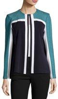 Misook Colorblock Knit Jewel-Neck Jacket, Teal/Navy/Ivory