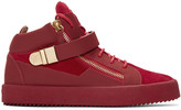 Giuseppe Zanotti Red Suede London High-Top Sneakers