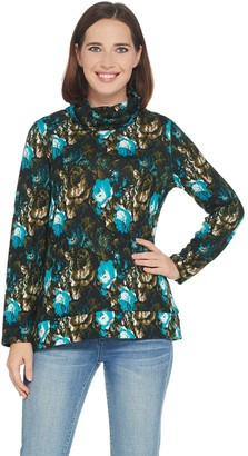 Susan Graver Weekend Printed Sweater Knit Cowl-Neck Top