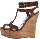 Burberry Suede Ankle-Wrap Wedges